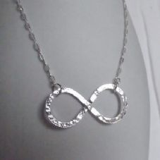 Lovely Handmade Solid Silver Hammer Finish Infinity Pendant with Sterling Chain